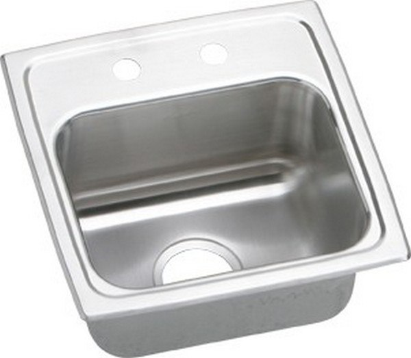 Elkay BLR15162 Lustertone 15 L x 15 W x 7-1/8 D Top Mount Bar Sink, 2 Faucet Holes