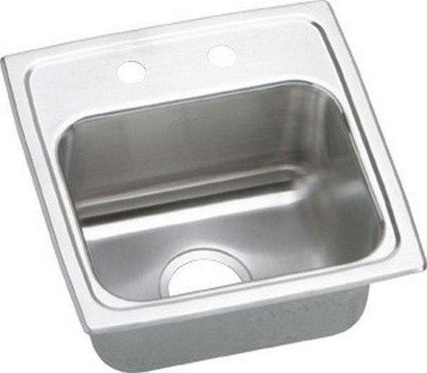 Elkay BLR1516MR2 Lustertone 15 L x 15 W x 7-1/8 D Top Mount Bar Sink, 2 Faucet Holes