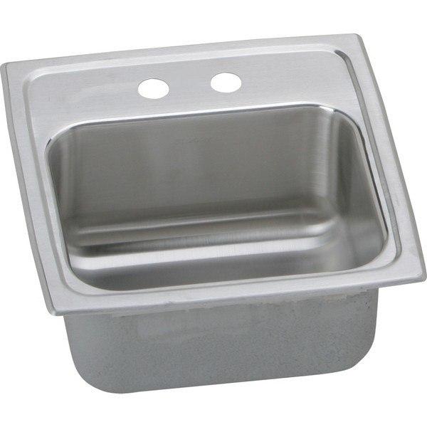 Elkay BLR152 Lustertone 15 L x 15 W x 7-1/8 D Top Mount Bar Sink, 2 Faucet Holes