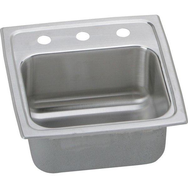 Elkay BLR153 Lustertone 15 L x 15 W x 7-1/8 D Top Mount Bar Sink, 3 Faucet Holes