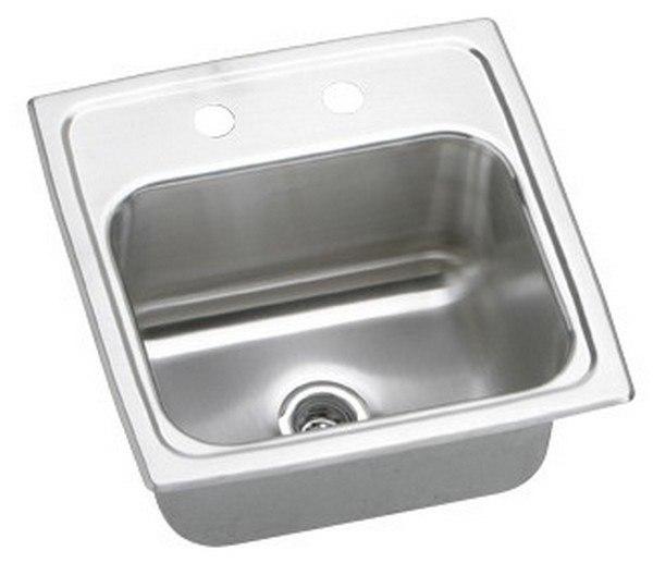 Elkay BLR15601 Lustertone 15 L x 15 W x 6-1/8 D Top Mount Bar Sink, 1 Faucet Hole