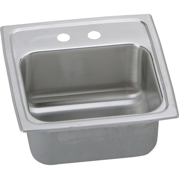 Elkay BLR15602 Lustertone 15 L x 15 W x 6-1/8 D Top Mount Bar Sink, 2 Faucet Holes