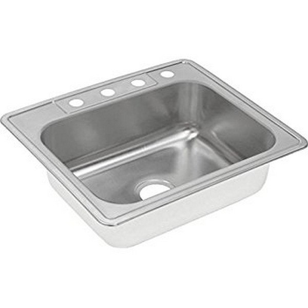 Elkay DD125221 Dayton Stainless Steel 25 L x 22 W x 7 D Top Mount Kitchen Sink, 1 Faucet Hole