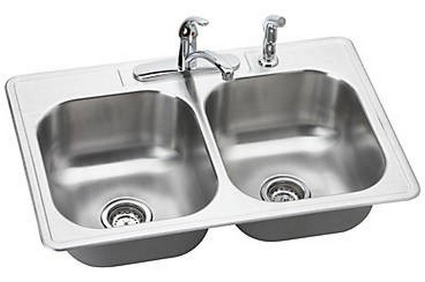 Elkay Dse233224 Dayton 33 L X 22 W X 8 D Top Mount Kitchen Sink With Faucet And