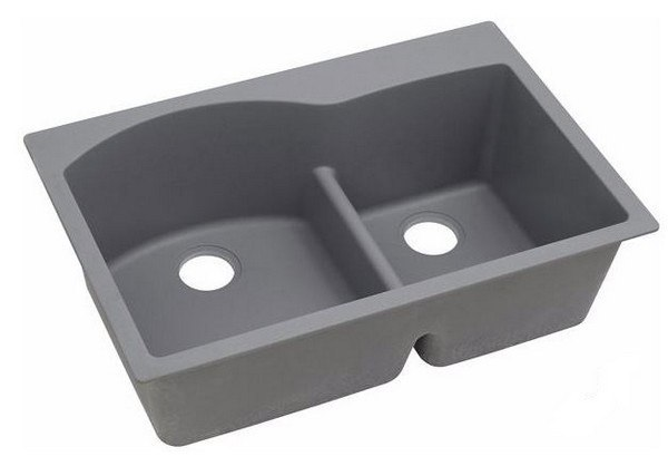 ELKAY ELGH3322RGS0 33 L X 22 W X 10 D DOUBLE BOWL KITCHEN SINK IN GREYSTONE