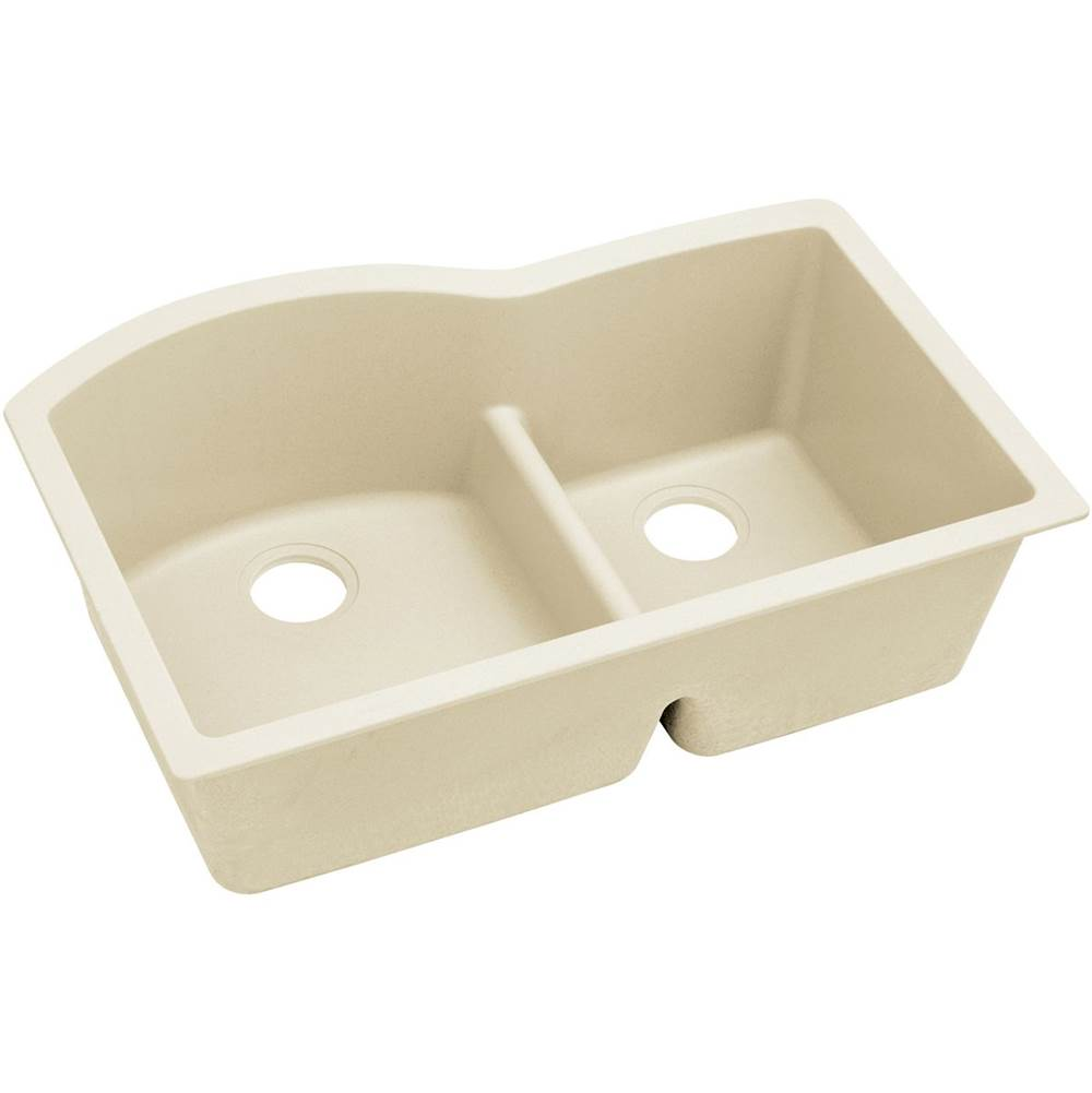 Elkay ELXHU3322RPA0 Quartz Luxe 33 L x 22 W x 10 D Double Bowl Undermount Sink With Aqua Dividein in Parchment