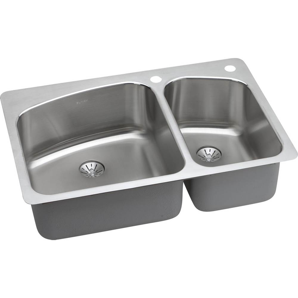 ELKAY LKHSR2509RPD3 STAINLESS STEEL 33 L X 22 W X 9 D KITCHEN SINK WITH PERFECT DRAINS, 3 FAUCET HOLES