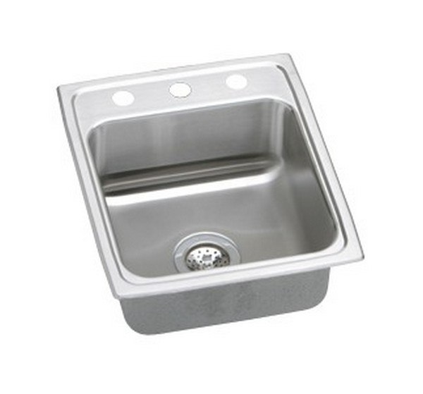 ELKAY PSR17203 PACEMAKER STAINLESS STEEL 17 L X 20 W X 7-1/8 D TOP MOUNT KITCHEN SINK, 3 FAUCET HOLES