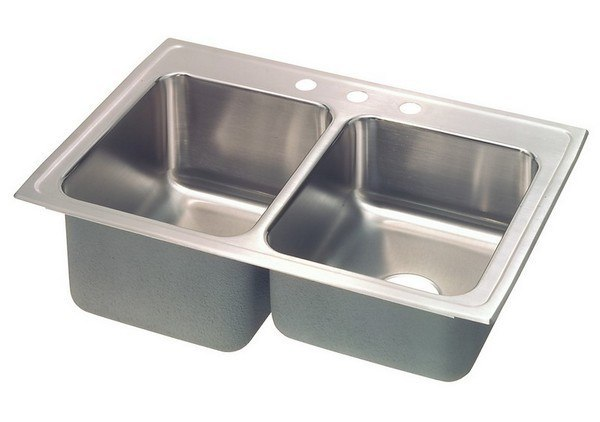 ELKAY STLR3322L1 LUSTERTONE 33 L X 22 W X 10-1/8 D TOP MOUNT SINK WITH LEFT DRAINBOARD, 1 FAUCET HOLE