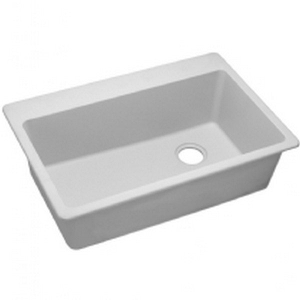 Elkay 1000001847 Quartz Classic 33'' x 22'' x 9-1/2'' Top Mount Sink in White