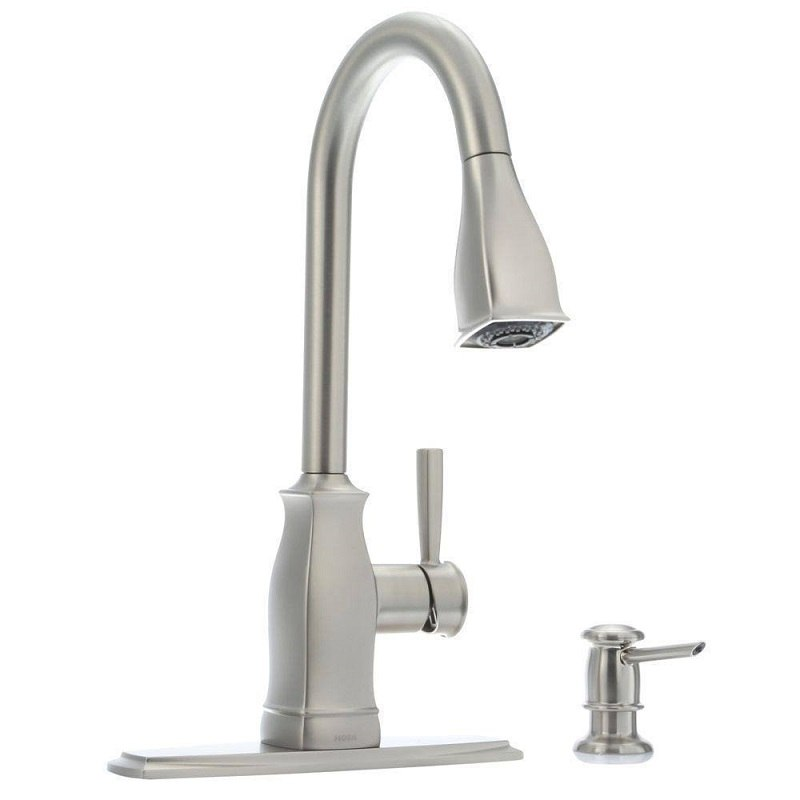 Moen 87395srs Surie Spot Resist Stainless One Handle Pulldown Kitchen Faucet With Power Boost