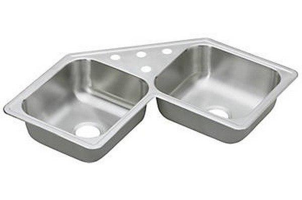 Elkay DE217320 Dayton Stainless Steel 31-7/8 L x 31-7/8 W x 7 D Double Bowl Corner Kitchen Sink