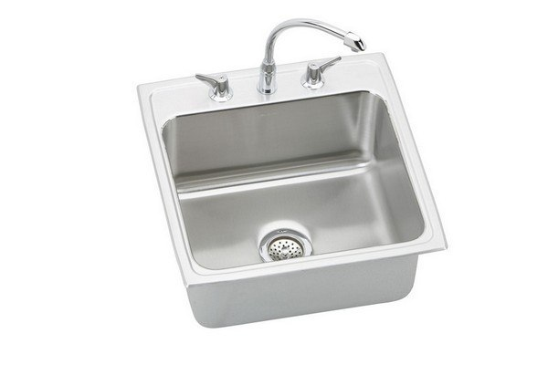 ELKAY DLH222210C LUSTERTONE STAINLESS STEEL 22 L X 22 W X 10-1/8 D TOP MOUNT KITCHEN SINK WITH FAUCET