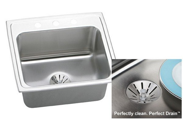ELKAY DLR221910PD3 STAINLESS STEEL 22 L X 19-1/2 W X 10-1/8 D TOP MOUNT KITCHEN SINK KIT, 3 FAUCET HOLES