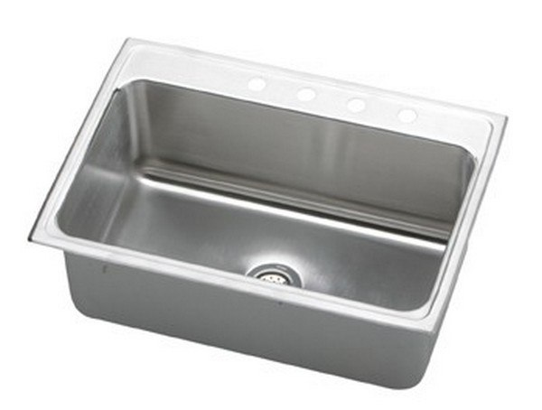 ELKAY DLR3122122 LUSTERTONE STAINLESS STEEL 31 L X 22 W X 11-5/8 D TOP MOUNT KITCHEN SINK, 2 FAUCET HOLES