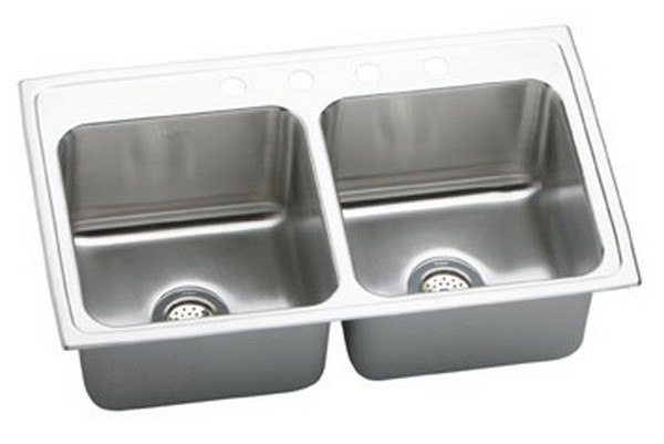 ELKAY DLRQ3319105 LUSTERTONE STAINLESS STEEL 33 L X 19-1/2 W X 10-1/8 D DOUBLE BOWL KITCHEN SINK, 5 FAUCET HOLES