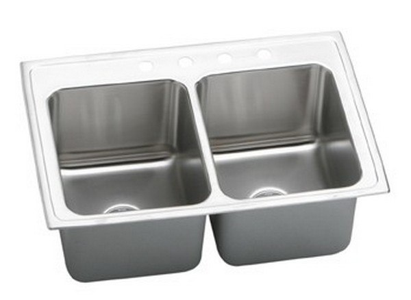 ELKAY DLRQ3322102 LUSTERTONE STAINLESS STEEL 33 L X 22 W X 10-1/8 D DOUBLE BOWL KITCHEN SINK, 2 FAUCET HOLES
