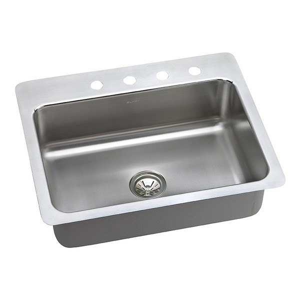 ELKAY DLSR2722102 LUSTERTONE STAINLESS STEEL 27 L X 22 W X 10 D UNIVERSAL MOUNT KITCHEN SINK, 2 FAUCET HOLES