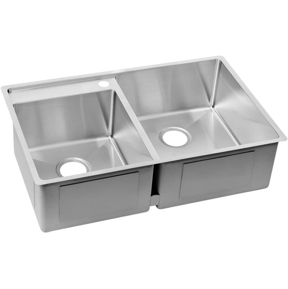 ELKAY ECTRUD31199L1 CROSSTOWN 32-1/2 X 20-1/2 X 9 DOUBLE BOWL UNDERMOUNT SINK WITH WATER DECK, 2 FAUCET HOLES
