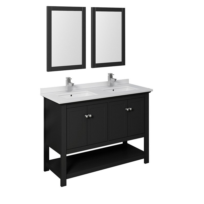 Surprising Fresca Fvn2348Bl D Manchester 48 Inch Black Traditional Double Sink Bathroom Vanity With Mirrors Download Free Architecture Designs Ferenbritishbridgeorg