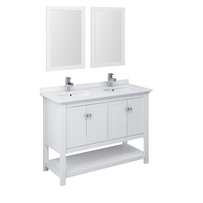 Marvelous Fresca Fvn2348Wh D Manchester 48 Inch White Traditional Double Sink Bathroom Vanity With Mirrors Download Free Architecture Designs Ferenbritishbridgeorg