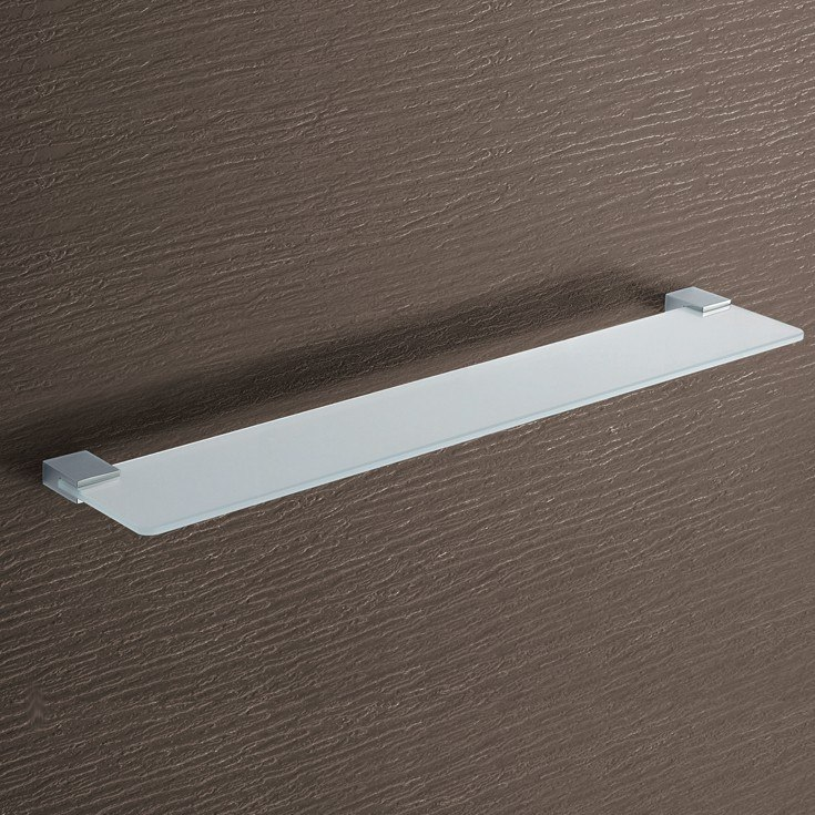 GEDY 3819-60-13 KANSAS 23.62 INCH SQUARE FROSTED GLASS BATHROOM SHELF