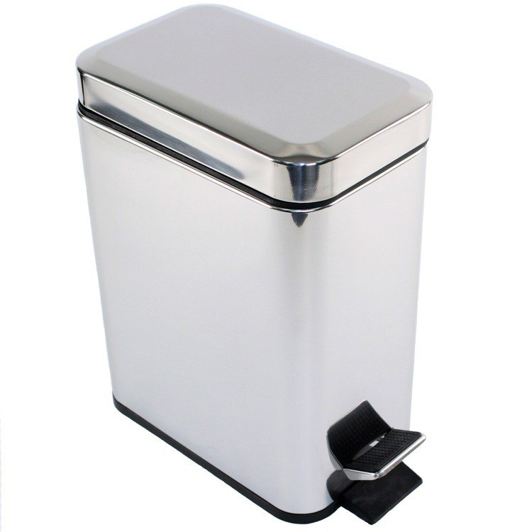 GEDY 2909-13 ARGENTA RECTANGULAR POLISHED CHROME WASTE BIN WITH PEDAL