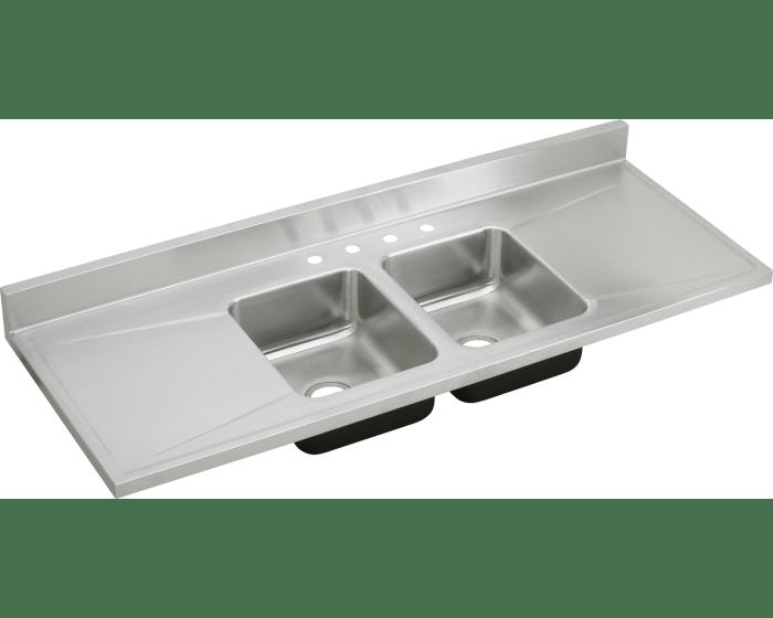 Elkay D66294 Stainless Steel 66 L X 25 W X 7 1 2 D Double Bowl Kitchen Sink 4 Faucet Holes