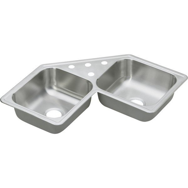 Elkay DE217323 Dayton Stainless Steel 31-7/8 L x 31-7/8 W x 7 D Double Bowl Corner Kitchen Sink, 3 Faucet Holes