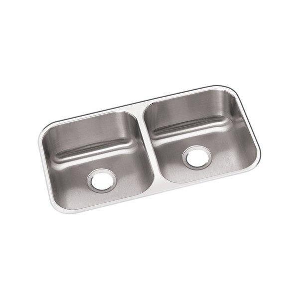 Elkay DXUH3118 Dayton Stainless Steel 31-3/4 L x 18-1/4 W x 8 D Double Bowl Undermount Kitchen Sink