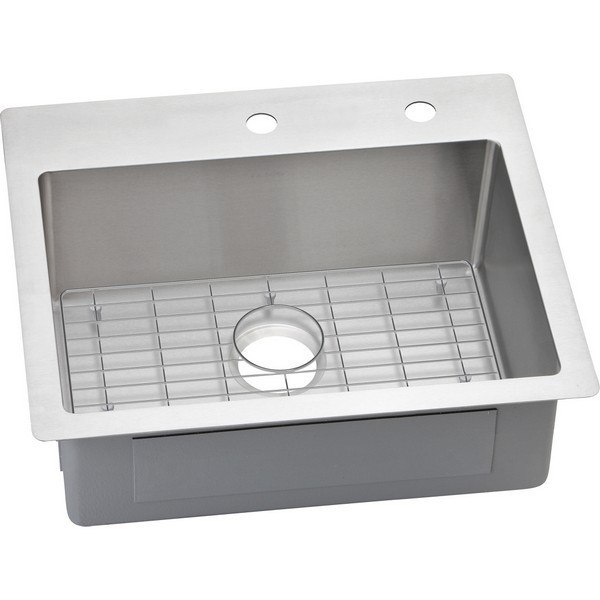 Elkay ECTSR25229BGFR2 Crosstown 25 L x 22 W x 9 D Universal Mount Kitchen Sink with Bottom Grid, 2 Faucet Holes