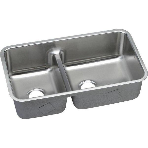 Elkay ELUHAQD32179 Lustertone Stainless Steel 32 L x 18-1/2 W x 9 D Double Bowl Undermount Kitchen Sink