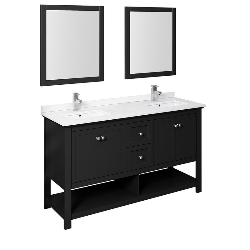 Fresca Fvn2360bl D Manchester 60 Inch Black Traditional Double Sink Bathroom Vanity With Mirrors