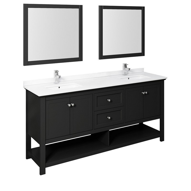 Fresca Fvn2372bl D Manchester 72 Inch Black Traditional Double Sink Bathroom Vanity With Mirrors