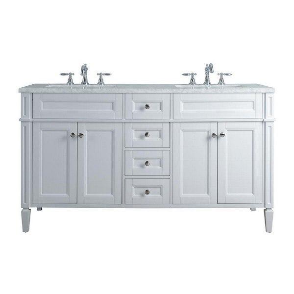 STUFURHOME HD-1524W-60-CR ANASTASIA FRENCH 60 INCH WHITE DOUBLE SINK BATHROOM VANITY