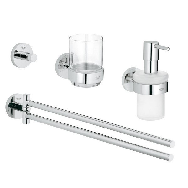 GROHE 40846001 ESSENTIALS MASTER BATHROOM ACCESSORIES SET 4-IN-1 IN STARLIGHT CHROME