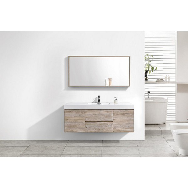 Kubebath Bsl60s Nw Bliss 60 Inch Single Sink Nature Wood Wall Mount Modern Bathroom Vanity