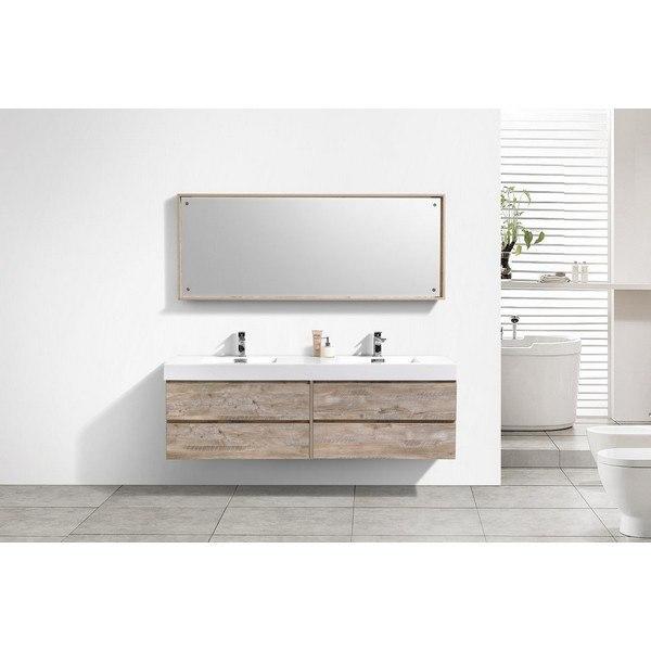 Kubebath BSL72D-NW Bliss 72 Inch Double Sink Nature Wood Wall Mount Modern Bathroom Vanity