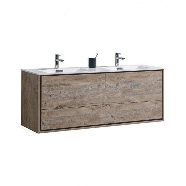 Kubebath Dl60d Nw Delusso 60 Inch Double Sink Nature Wood Wall Mount