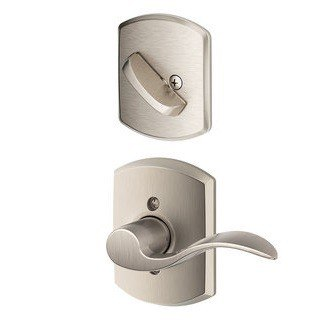 Schlage Residential F59ACCGRWRH F Series Accent with Greenwich Rose Door Lock Interior Trim