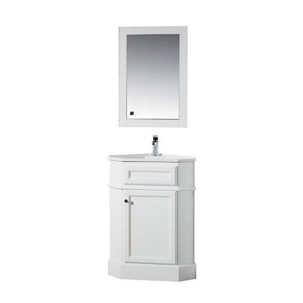 Stufurhome Ty 415pw Hampton White 27 Inch Corner Bathroom Vanity With Medicine Cabinet