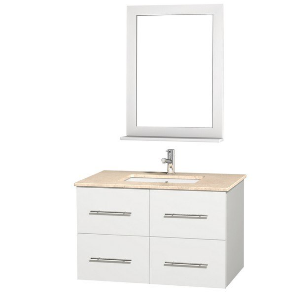 WYNDHAM COLLECTION WCVW00936SWHIVUNDM24 CENTRA 36 INCH WHITE, IVORY MARBLE COUNTERTOP WITH SQUARE PORCELAIN UNDERMOUNT SINK