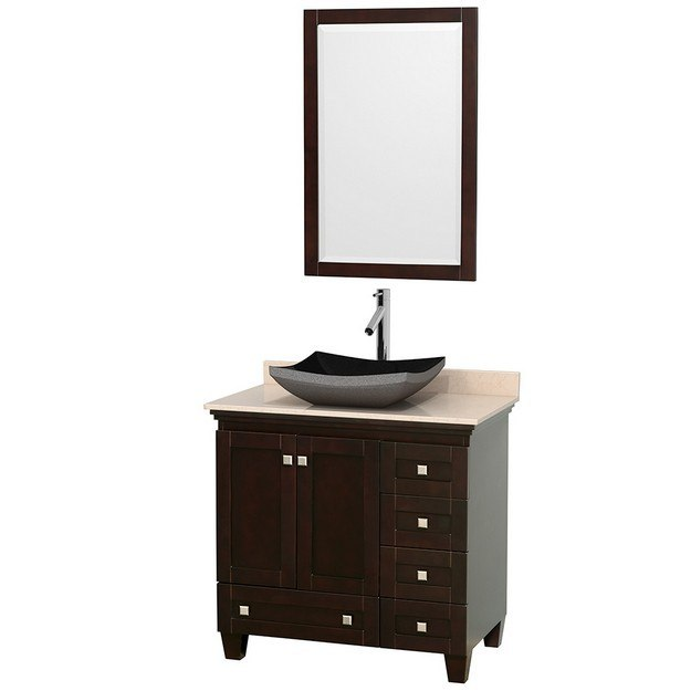 Wyndham Collection Wcv800036sesivgs1m24 Acclaim 36 Inch Single Bathroom Vanity In Espresso Ivory Marble Countertop