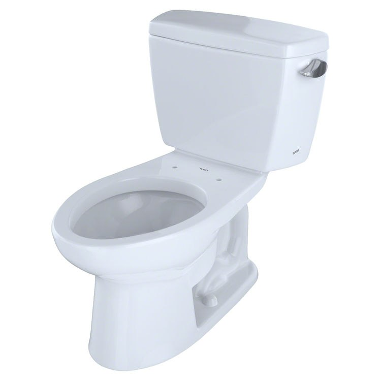 TOTO CST744ER#01 ECO DRAKE TWO PIECE ELONGATED 1.28 GPF TOILET WITH E-MAX FLUSH SYSTEM, RIGHT HAND TRIP LEVER