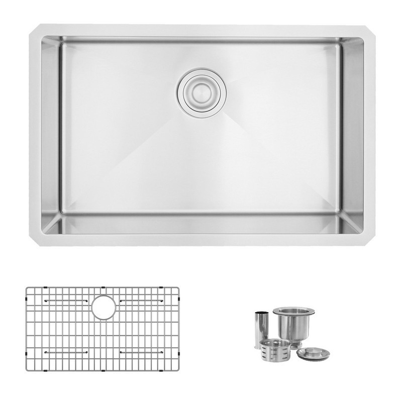 STYLISH S-306XG 28 L X 18 W INCH STAINLESS STEEL SINGLE BASIN UNDERMOUNT KITCHEN SINK WITH GRID AND STRAINER