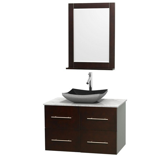WYNDHAM COLLECTION WCVW00936SESCMGS1M24 CENTRA 36 INCH SINGLE BATHROOM VANITY IN ESPRESSO, WHITE CARRERA MARBLE COUNTERTOP, ALTAIR BLACK GRANITE SINK, AND 24 INCH MIRROR