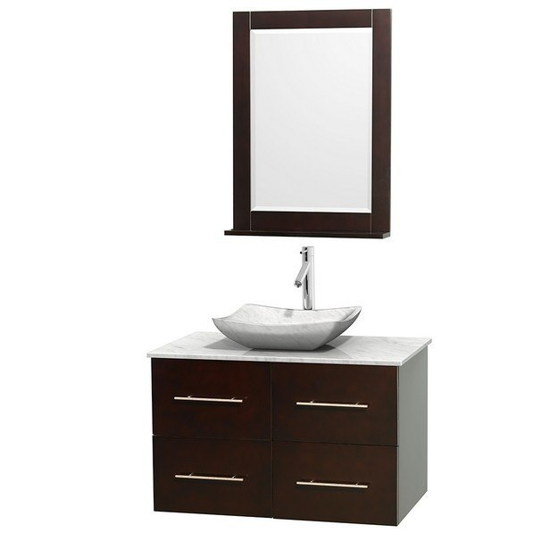 WYNDHAM COLLECTION WCVW00936SESCMGS3M24 CENTRA 36 INCH SINGLE BATHROOM VANITY IN ESPRESSO, WHITE CARRERA MARBLE COUNTERTOP, AVALON WHITE CARRERA MARBLE SINK, AND 24 INCH MIRROR