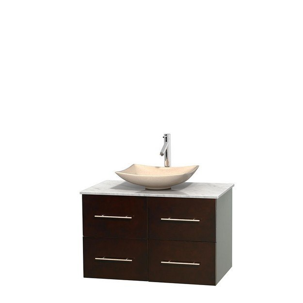 WYNDHAM COLLECTION WCVW00936SESCMGS5MXX CENTRA 36 INCH SINGLE BATHROOM VANITY IN ESPRESSO, WHITE CARRERA MARBLE COUNTERTOP, ARISTA IVORY MARBLE SINK, AND NO MIRROR