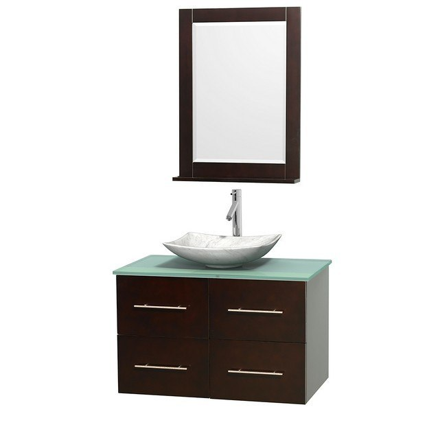 WYNDHAM COLLECTION WCVW00936SESGGGS6M24 CENTRA 36 INCH SINGLE BATHROOM VANITY IN ESPRESSO, GREEN GLASS COUNTERTOP, ARISTA WHITE CARRERA MARBLE SINK, AND 24 INCH MIRROR