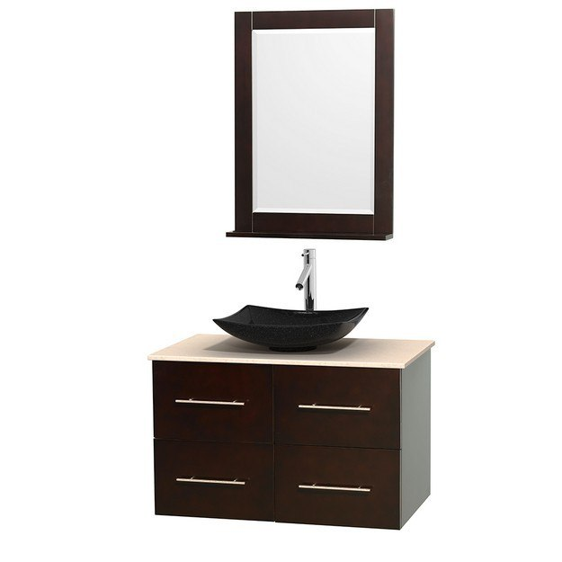 WYNDHAM COLLECTION WCVW00936SESIVGS4M24 CENTRA 36 INCH SINGLE BATHROOM VANITY IN ESPRESSO, IVORY MARBLE COUNTERTOP, ARISTA BLACK GRANITE SINK, AND 24 INCH MIRROR